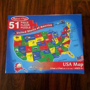 Melissa & Doug USA Map Floor Puzzle, New in Box